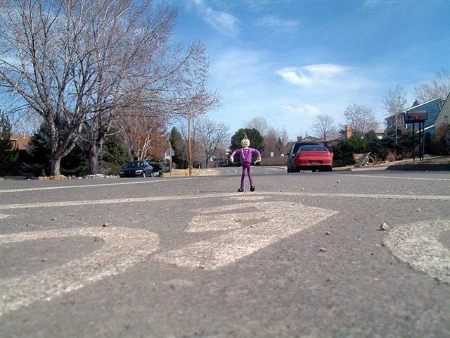 The Pink Man in the Road